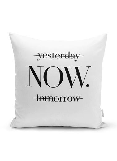 Real Homes Yesterday Tomorrow NOW Yazılı Dijital >Baskılı Yastık Kırlent Kılıfı Renkli